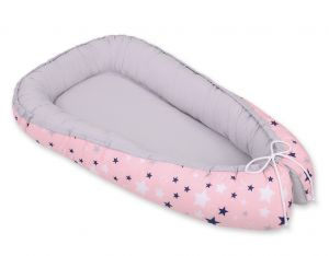 Baby nest- pink-navy blue stars/gray