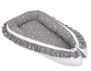 Baby nest with a ruffle - mini stars white/white
