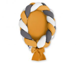 Braided baby nest 2 in 1 - white-honey yellow-anthracite