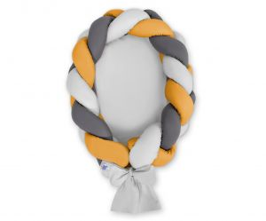 Braided baby nest 2 in 1 - gray-honey yellow-anthracite