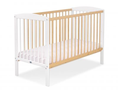 Baby cot 120x60cm Leonardo no. 5030-07- white - natural wood