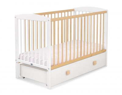 Baby cot 120x60cm Leonardo no. 5030-07- white - natural wood with drawer MAXI
