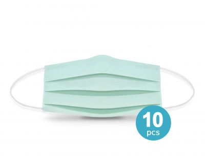 Two-layer reusable protective face mask  mint -10pcs