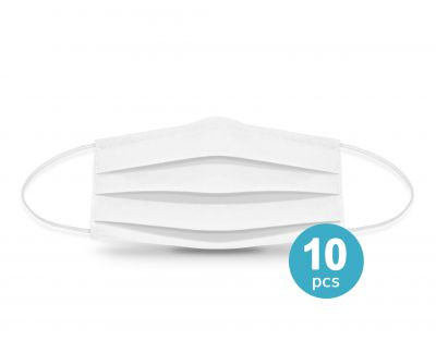 Two-layer reusable protective face mask white 10pcs