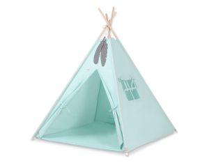 MINI Set: Teepees tent+play mat+ decorative feathers - mint
