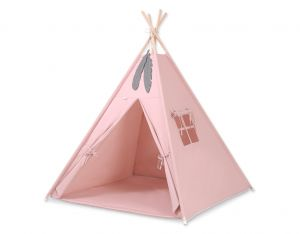 MINI Set: Teepees tent+play mat + decorative feathers - pastel pink