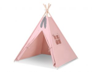 Teepee tent + decorative feathers- pastel pink