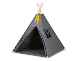 MINI Set: Teepees tent+play mat + decorative feathers- anthracite