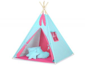 MINI Set: Teepees tent+play mat + decorative feathers- White dots on turquoise/dark pink