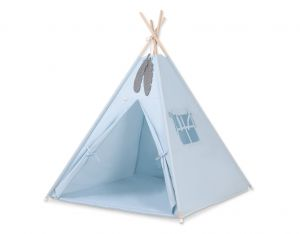 MINI Set: Teepees tent+play mat + decorative feathers- blue