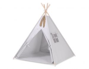 MINI Set: Teepees tent+play mat+ decorative feathers -gray
