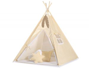 MINI Set: Teepees tent+play mat + decorative feathers- White dots on beige