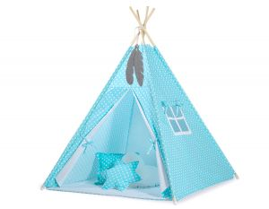 MINI Set: Teepees tent+play mat + decorative feathers - White dots on turquoise