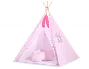 MINI Set: Teepees tent+play mat + decorative feathers - White dots on pink