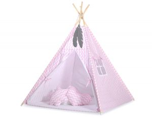 MEGA TEEPEE SET: Teepee tent+playmat+pillows + decorative feathers FREE!- Chevron pink
