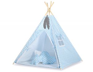 MINI Set: Teepees tent+play mat + decorative feathers - Chevron blue