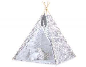 MINI Set: Teepees tent+play mat + decorative feathers- Chevron grey