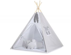 MINI Set: Teepees tent+play mat + decorative feathers - White dots on grey