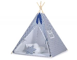 MINI Set: Teepees tent+play mat + decorative feathers- Chevron navy blue