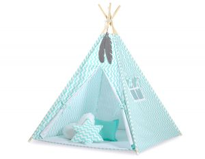 MINI Set: Teepees tent+play mat + decorative feathers- Chevron mint