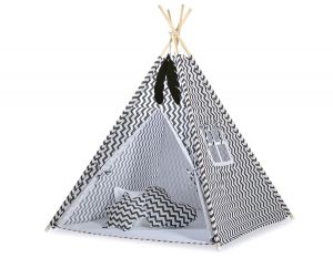 MINI Set: Teepees tent+play mat + decorative feathers - Chevron black