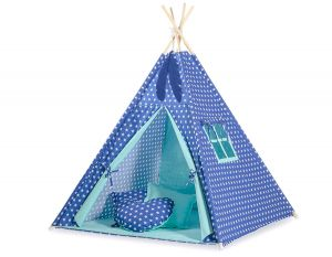 MINI Set: Teepees tent+play mat + decorative feathers - Stars navy blue