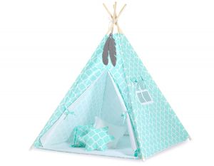 MINI Set: Teepees tent+play mat + decorative feathers- Marocco mint