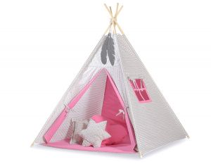 MINI Set: Teepees tent+play mat + decorative feathers - Grey checkered-pink