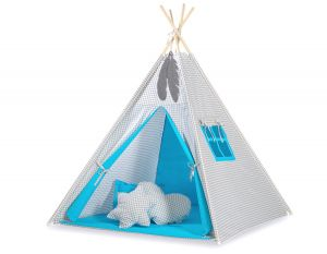 MINI Set: Teepees tent+play mat + decorative feathers - Grey checkered-turquoise