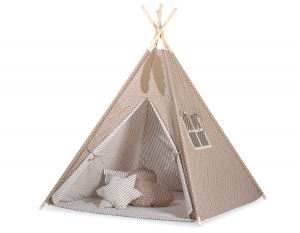 MINI Set: Teepees tent+play mat+ decorative feathers - White dots on brown/beige strips