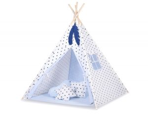 Teepee tent + decorative feathers- Black Stars/blue
