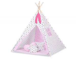 MINI Set: Teepees tent+play mat + decorative feathers - Black Stars/pink