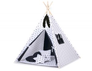 Teepee tent + decorative feathers- Black Stars/black