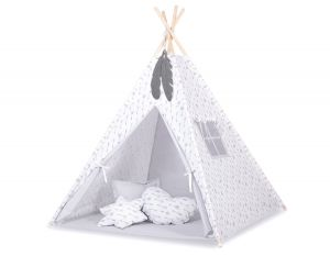 Teepee tent + decorative feathers- Grey arrows