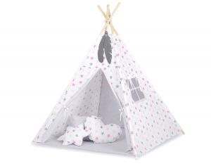 Teepee tent + decorative feathers- Grey-pink stars/grey