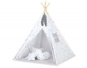 MINI Set: Teepees tent+play mat + decorative feathers- Grey-blau stars/grey