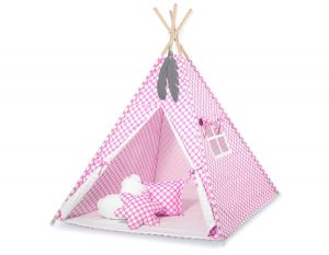 MINI Set: Teepees tent+play mat + decorative feathers - pink with white dots