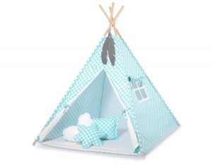 MINI Set: Teepees tent+play mat + decorative feathers-turquoise with white dots