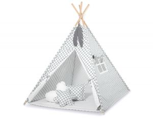 MINI Set: Teepees tent+play mat + decorative feathers -grey with white dots