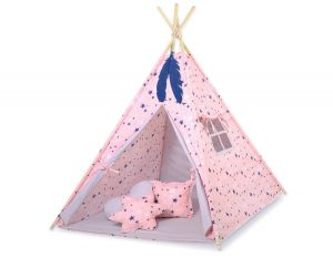 MINI Set: Teepees tent+play mat + decorative feathers - pink-navy blue stars/gray