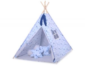MINI Set: Teepees tent+play mat + decorative feathers- blue-navy blue stars/gray