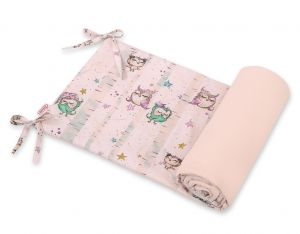 Universal bumper for cot - owls cream-mint