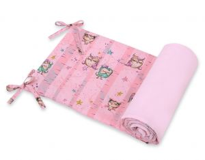 Universal bumper for cot - owls pink