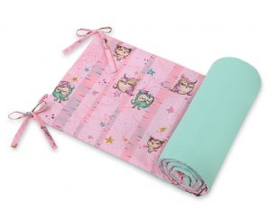 Universal bumper for cot - owls pink-mint