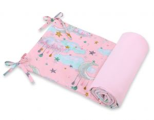 Universal bumper for cot - moons pink