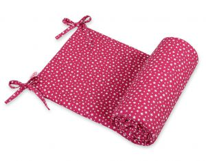 Universal bumper for cot - wine red stars