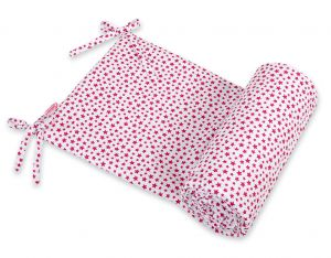 Universal bumper for cot - white-wine red stars