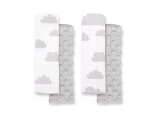 Double sided pads BOBONO for seat belts - clouds gray/gray
