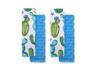 Double sided pads BOBONO for seat belts - cactus/turquoise