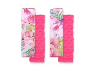 Double sided pads BOBONO for seat belts - hummingbirds in flowers/rosa